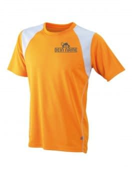 T-Shirt Männer Orange Vorne Dein Name Reflekt Trainingsoutfit