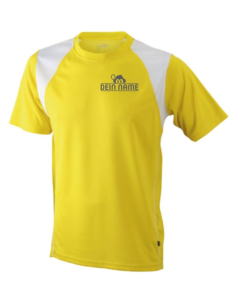 T-Shirt Männer Gelb Vorne Dein Name Reflekt Trainingsoutfit