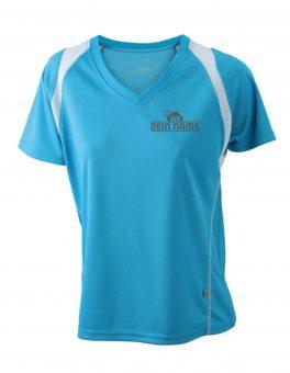 T-Shirt Frauen Blau Vorne Dein Name Reflekt Trainingsoutfit
