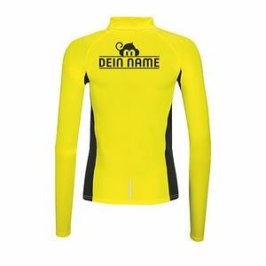 Langarmshirt Gelb Hinten Dein Name schwarz Trainingsoutfit