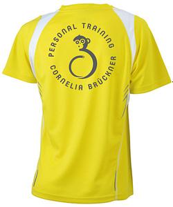 T-Shirt Frauen Gelb Hinten Rundlogo Reflekt Trainingsoutfit