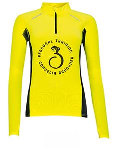 Langarmshirt Gelb Frauen Vorne Rundlogo schwarz Trainingsoutfit