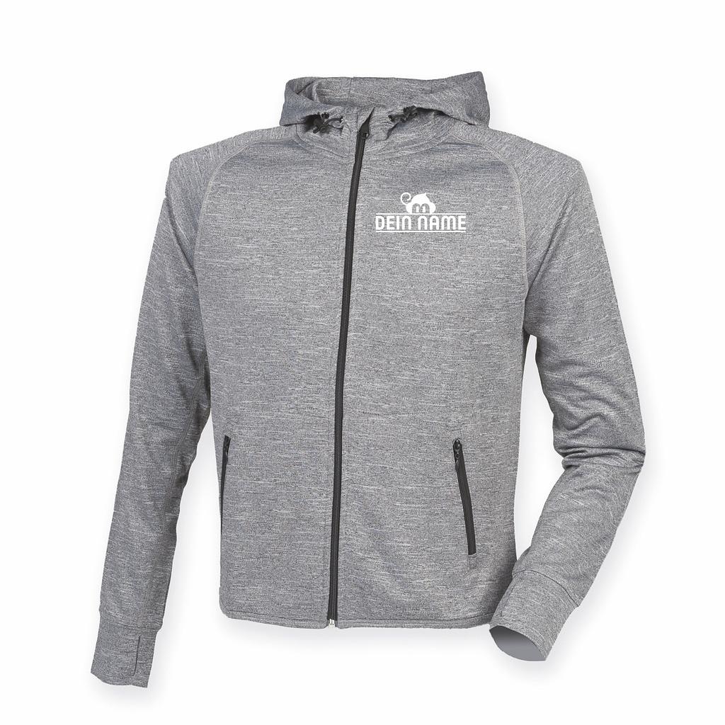 Trainingsjacke Grau Vorne Herzseitig Dein Name weiß